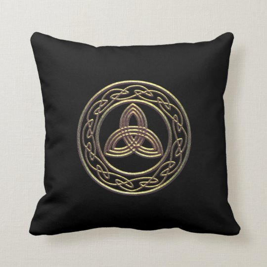 Bronze Look Trinity Metallic Celtic Knot Pillow