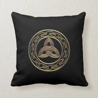 Bronze Look Trinity Metallic Celtic Knot Pillow