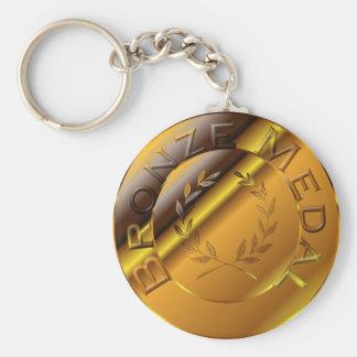 Bronze Medal Basic Round Button Key Ring