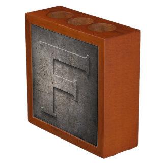 Bronze Metal Monogram F Desk Organizer