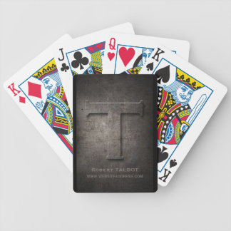 Bronze Metal T Monogram Customizable Playing Cards