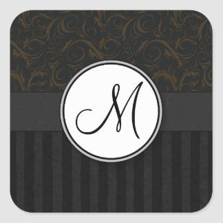 Bronze on Black Floral Wisps, Stripes & Monogram Square Sticker
