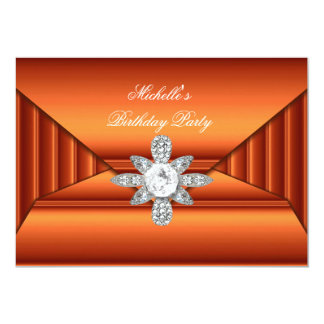 Bronze Orange Birthday Party Jewel Purse Look 13 Cm X 18 Cm Invitation Card