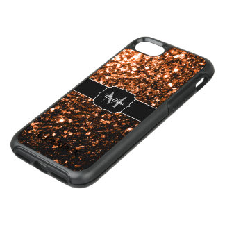 Bronze Orange Brown glitters sparkles Monogram OtterBox Symmetry iPhone 8/7 Case