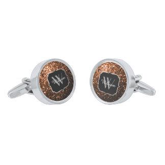 Bronze Orange Brown glitters sparkles Monogram Silver Finish Cuff Links