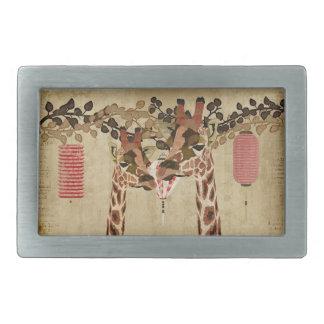 Bronze Rosa Giraffes Kiss Belt Buckle