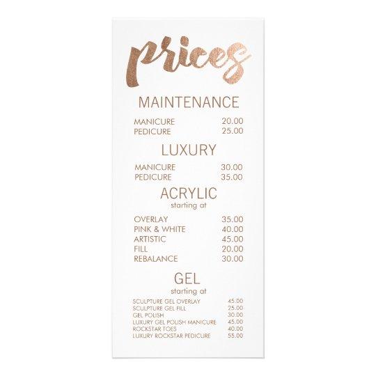 Bronze Salon Retail Menu Price List Template Cards Zazzle