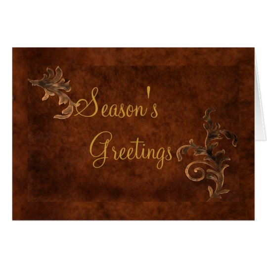 Bronze Scroll Leaf Holiday Greeting Card