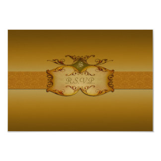 Bronze Scrolls Reply Card 9 Cm X 13 Cm Invitation Card