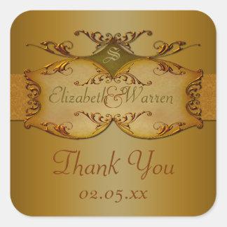 Bronze Scrolls Wedding Favor Thank You Sticker