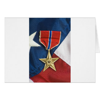 Bronze Star on American flag Card