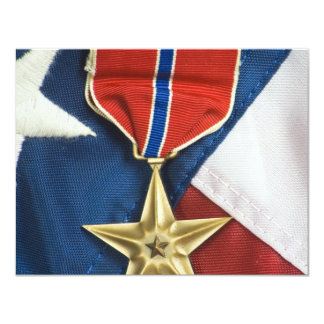 Bronze Star on American flag 4.25x5.5 Paper Invitation Card