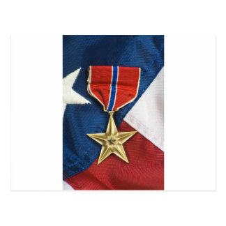 Bronze Star on American flag Postcard
