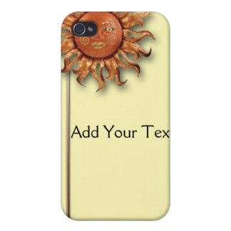 Bronze Sun on Cream Background Case For The iPhone 4