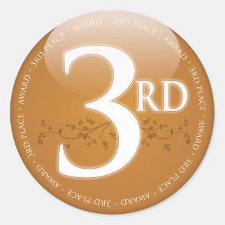 Bronze Third Place (3rd) Award Round Sticker