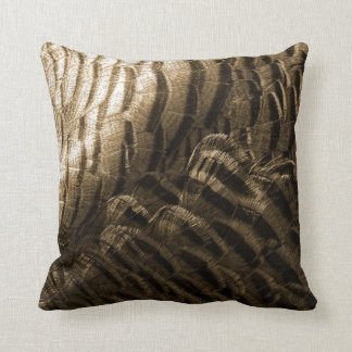Bronze Tone Turkey Feathers Photo Neutral Cushion