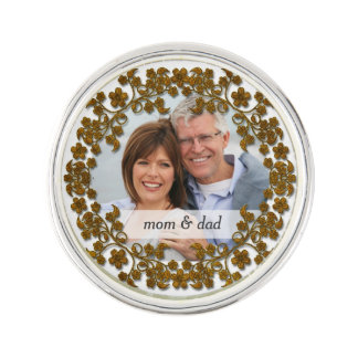 Bronze Wedding Anniversary with a photo Lapel Pin