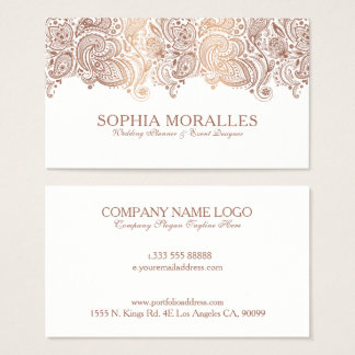 Bronze & White Vintage Paisley Lace Business Card