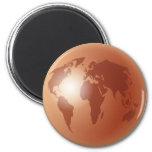 Bronze World Globe Refrigerator Magnet