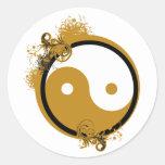 Bronze Yin Yang Round Stickers
