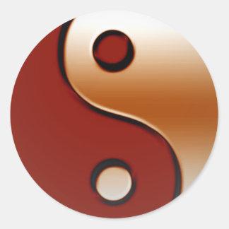 Bronzed Yin Yang Round Sticker
