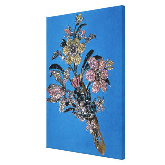 Brooch in form of large bouquet with brilliant canvas print