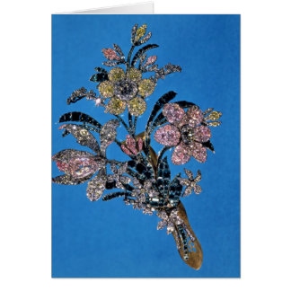Brooch in form of large bouquet with brilliant greeting card
