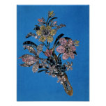 Brooch in form of large bouquet with brilliant print