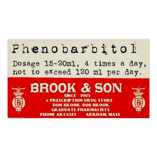 Brook & Son Arkham Prescription Label Poster