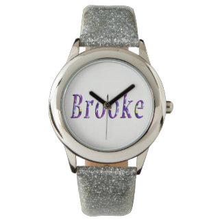 Brooke, Name, Logo, Girls Silver Glitter Watch