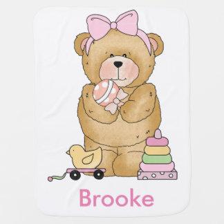 Brooke's Teddy Bear Personalized Gifts Receiving Blanket