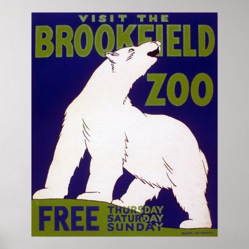 Brookfield Zoo Polar Bear Vintage WPA Poster