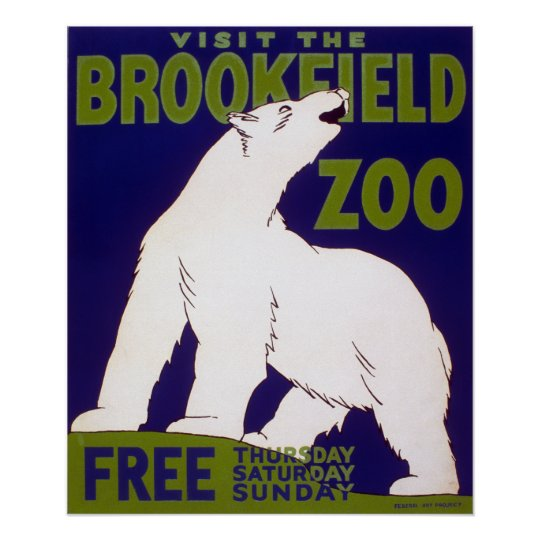 Brookfield Zoo Polar Bear Vintage WPA Poster