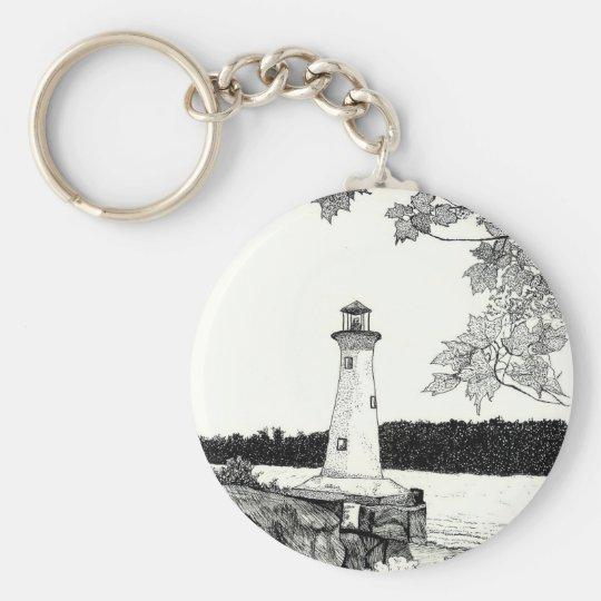 Brookline, NH -Lighthouse Basic Round Button Key Ring