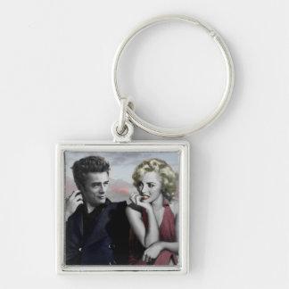 Brooklyn B&W Silver-Colored Square Key Ring