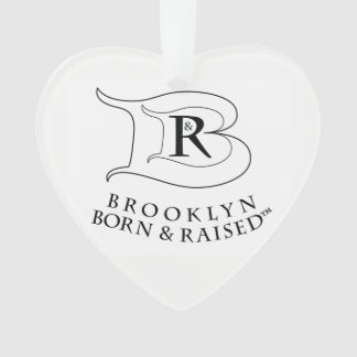 BROOKLYN BORN & RAISED LOGO ACRYLIC HEART ORNAMENT