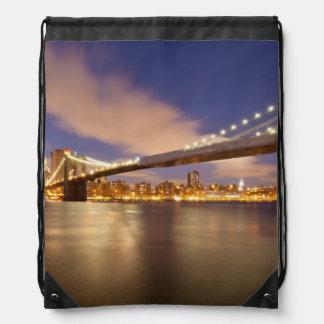 Brooklyn Bridge and Manhattan at Night. Drawstring Bag