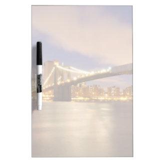 Brooklyn Bridge and Manhattan at Night. Dry Erase Board