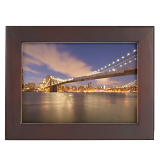Brooklyn Bridge and Manhattan at Night. Keepsake Box