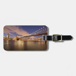 Brooklyn Bridge and Manhattan at Night. Luggage Tag