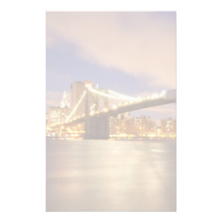Brooklyn Bridge and Manhattan at Night. Stationery