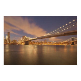 Brooklyn Bridge and Manhattan at Night. Wood Wall Art