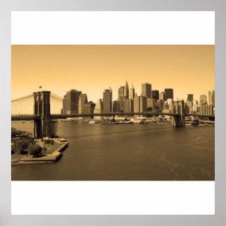 Brooklyn Bridge and Manhattan Poster