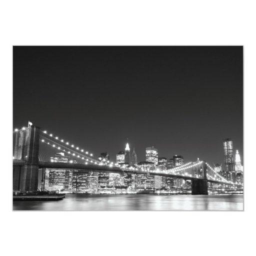 Brooklyn Bridge and Manhattan Skyline 13 Cm X 18 Cm Invitation Card