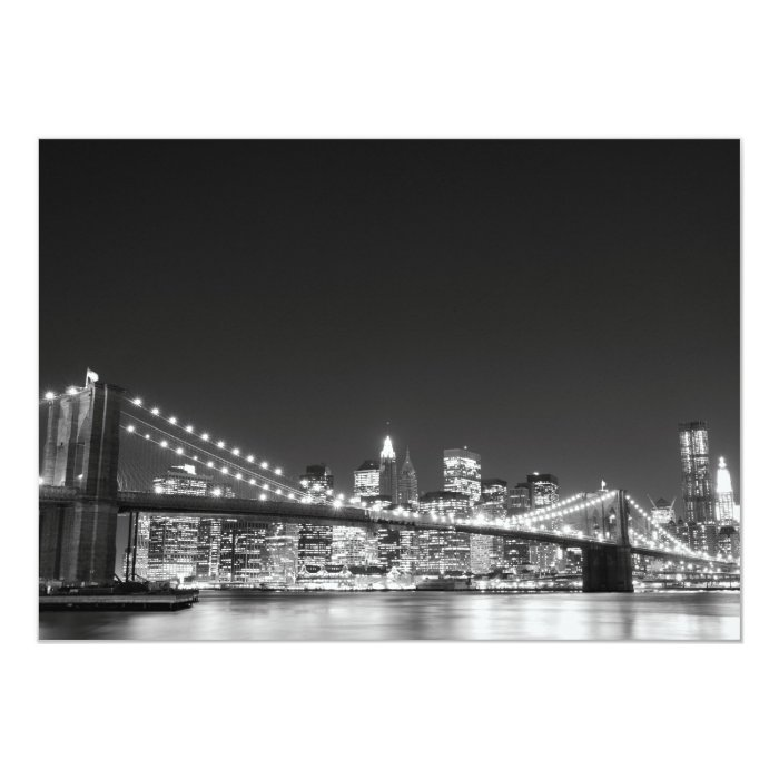 Brooklyn Bridge and Manhattan Skyline 13 Cm X 18 Cm Invitation Card