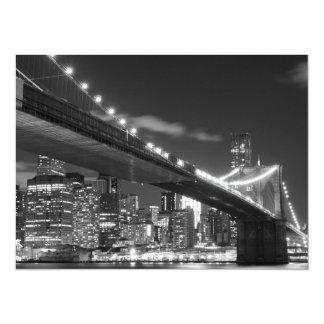 Brooklyn Bridge and Manhattan Skyline At Night 14 Cm X 19 Cm Invitation Card
