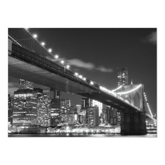 Brooklyn Bridge and Manhattan Skyline At Night Card