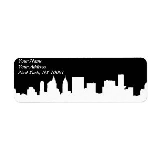 Brooklyn Bridge and Manhattan Skyline At Night, Ne Return Address Label