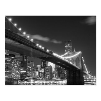 Brooklyn Bridge and Manhattan Skyline At Night Postcard