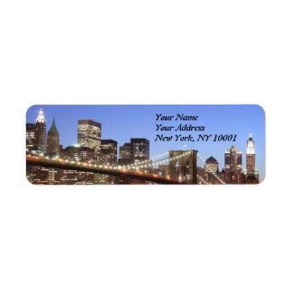 Brooklyn Bridge and Manhattan Skyline At Night Return Address Label